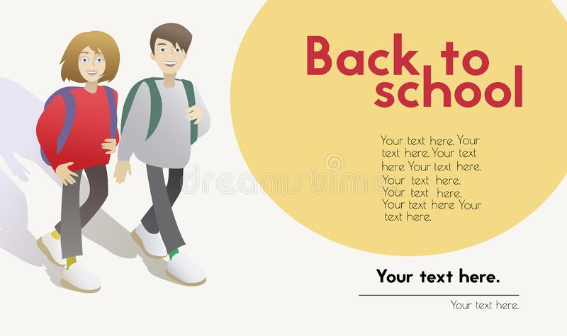 Tillbaka till mallen för skolabaner med skolbarntecknad filmtecken stock illustrationer
