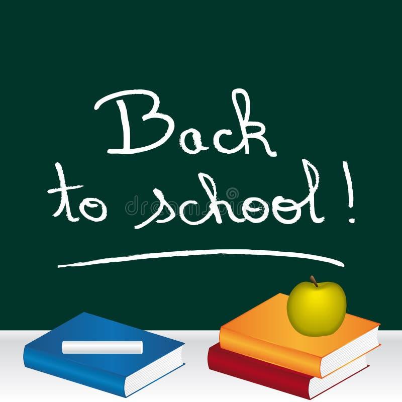 Tillbaka till skola! Meddelande som är skriftligt på en chalckboard med det ämnesböcker och äpplet stock illustrationer