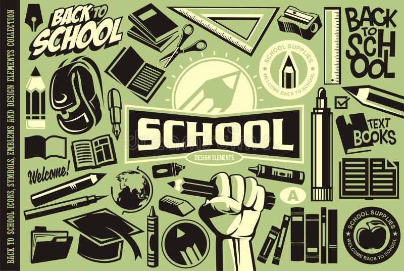 Tillbaka till skola ställ in av symboler, logoer, symboler, emblem och designbeståndsdelar vektor illustrationer