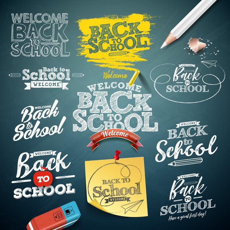 Tillbaka till skola ställde illustrationen in med typografibokstäver på svart tavlabakgrund Design för vektorutbildningsbegrepp vektor illustrationer