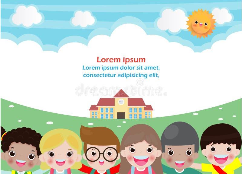 Tillbaka till skola, utbildningsbegrepp, skolaungar, mall f?r annonsering av broschyren, din text, ungar och ram, barn och ram, v stock illustrationer