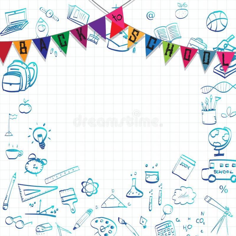Tillbaka till skola-, utbildningsbegreppsbakgrund med linjen konstsymboler och symboler vektor illustrationer