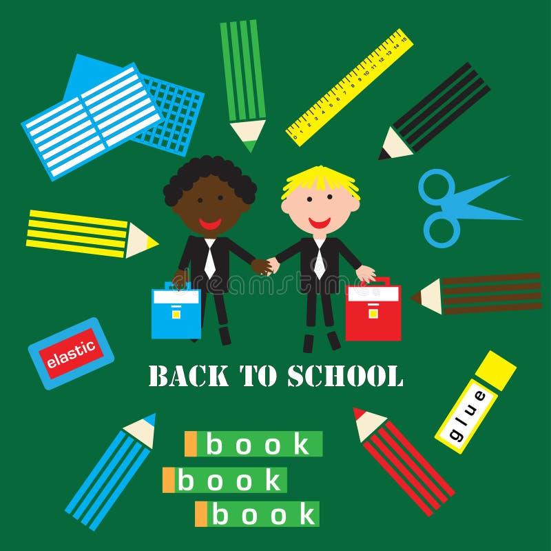 Tillbaka till skolaaffischen med studenter och skolaobjekt på en grön bakgrund av skolförvaltningen, vektor royaltyfri illustrationer
