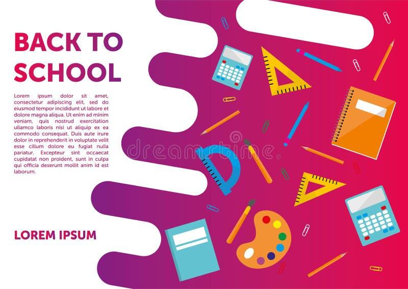 Tillbaka till skolabanret, affisch, färgrik plan design, vektorbackgound Webbsida vektor illustrationer