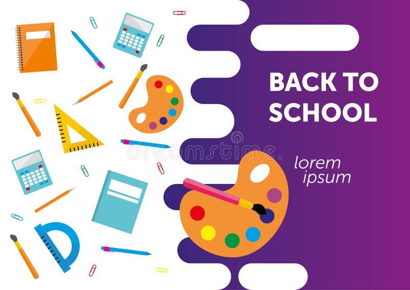 Tillbaka till skolabanret, affisch, färgrik plan design, vektorbackgound Webbsida royaltyfri illustrationer