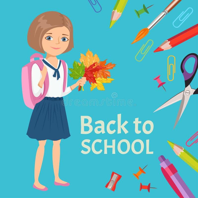 Tillbaka till skolabanret, affisch Lycklig le skolflicka med ryggsäcken och en bukett av höstsidor stock illustrationer