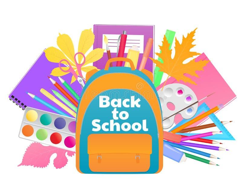 Tillbaka till skolabanret, ryggsäck med studietillförsel, brevpapper vektor illustrationer