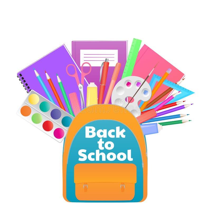 Tillbaka till skolabanret, ryggsäck med studietillförsel, brevpapper royaltyfri illustrationer