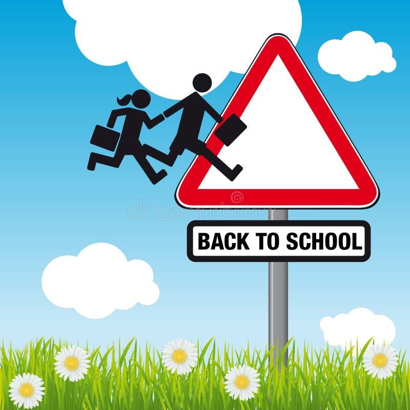 Tillbaka till skolabegreppet med en tecknad film stock illustrationer