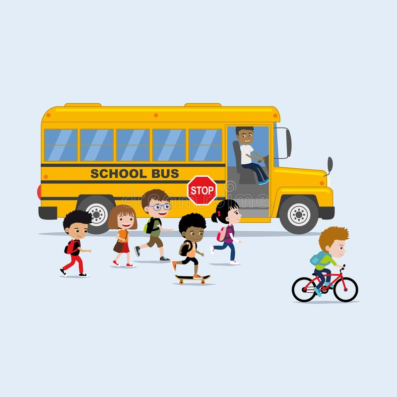 Tillbaka till skolaillustrationen i plan stil: olik grupp av barninternatskolabussen stock illustrationer