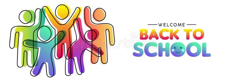 Tillbaka till skolakortet av olika färgrika gruppvänner stock illustrationer