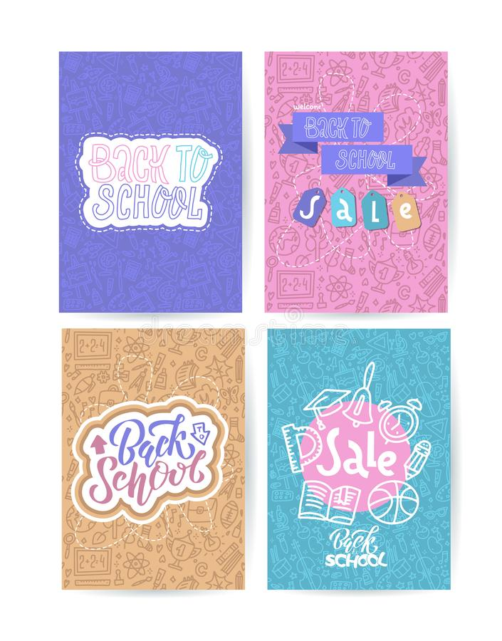 Tillbaka till skolakortuppsättningen med färgemblem på olik bakgrund som består av skolatillförsel Skolashopping Vektorhand stock illustrationer
