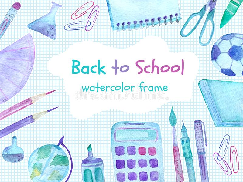 Tillbaka till skolavattenfärgramen med färgrika skolatillförsel royaltyfri fotografi