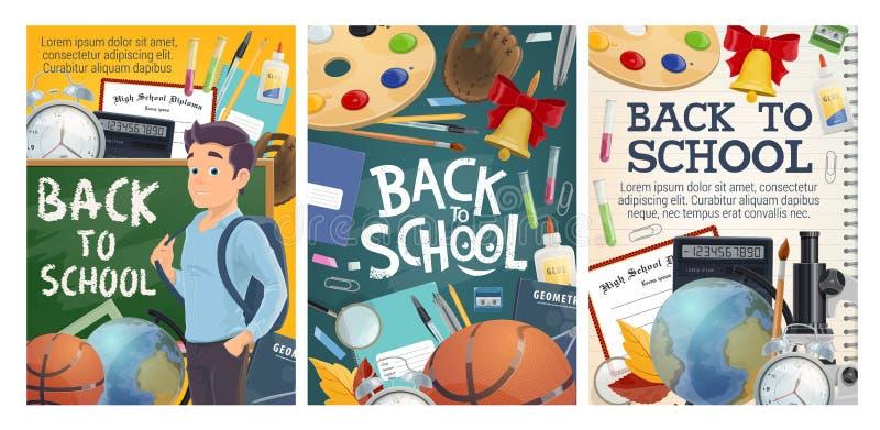 Tillbaka till skolutbildning- och för högskolastudie affischer vektor illustrationer