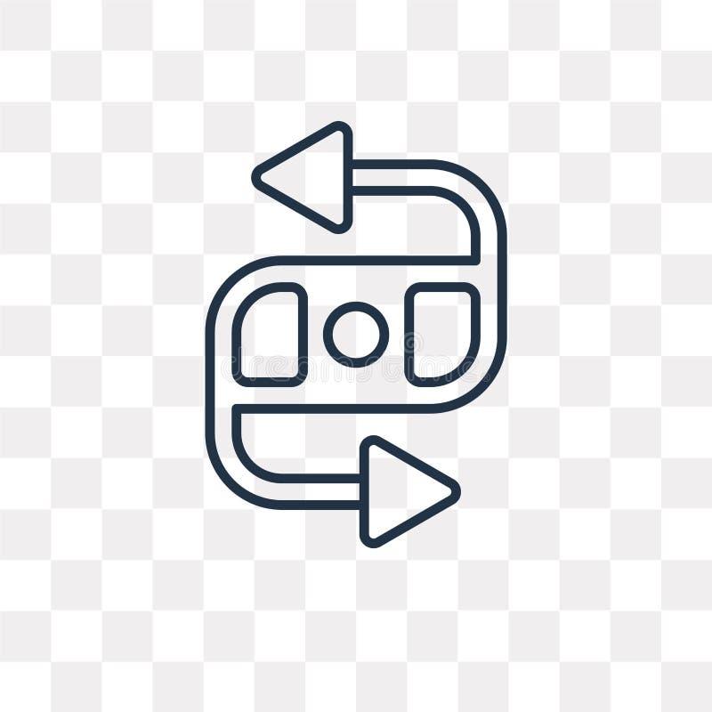 Tillbaka vektorsymbol som isoleras på genomskinlig bakgrund, linjär baksida royaltyfri illustrationer