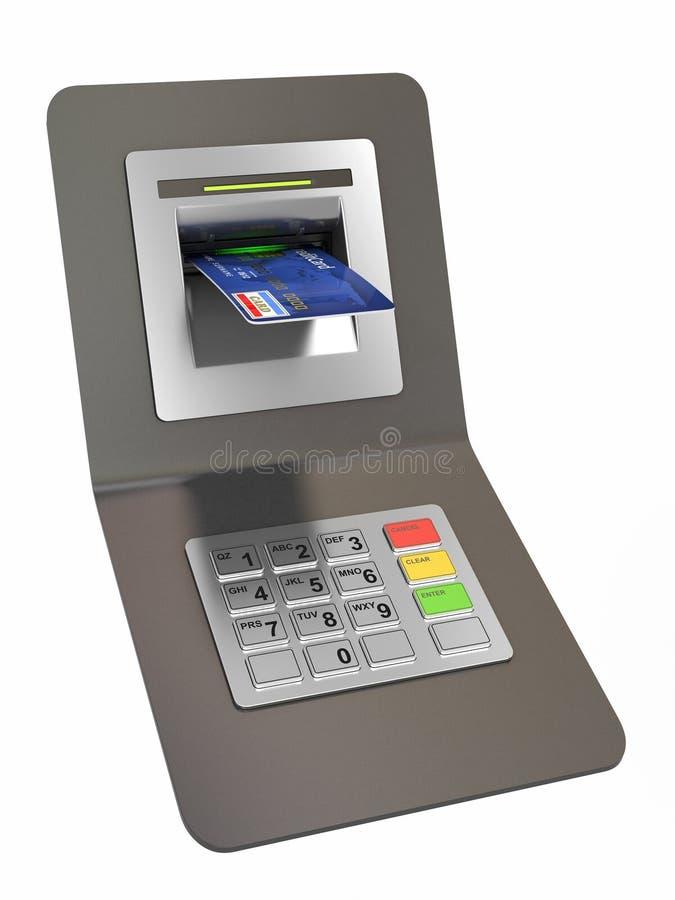 tillbakadragande för pengar för debitering för kreditering för atm-kort vektor illustrationer
