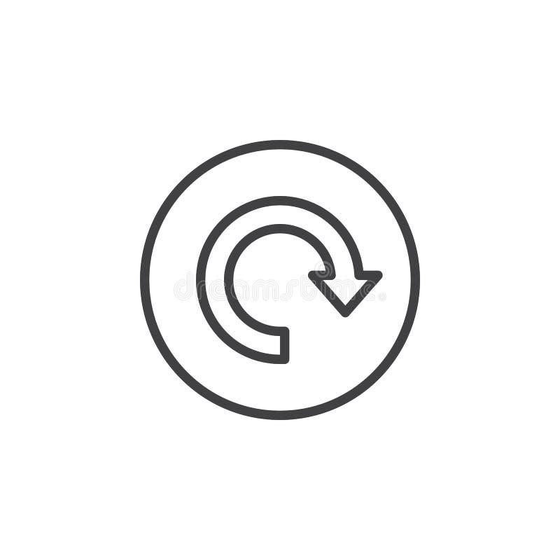 Tillbakaläggande pil runt om den runda linjen symbol Runt enkelt tecken royaltyfri illustrationer