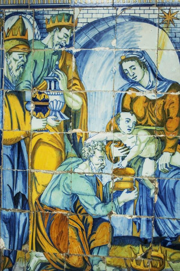 Tillbedjan av de tre vise männen, tegelplattor Basilika del Prado av Talavera de stock illustrationer