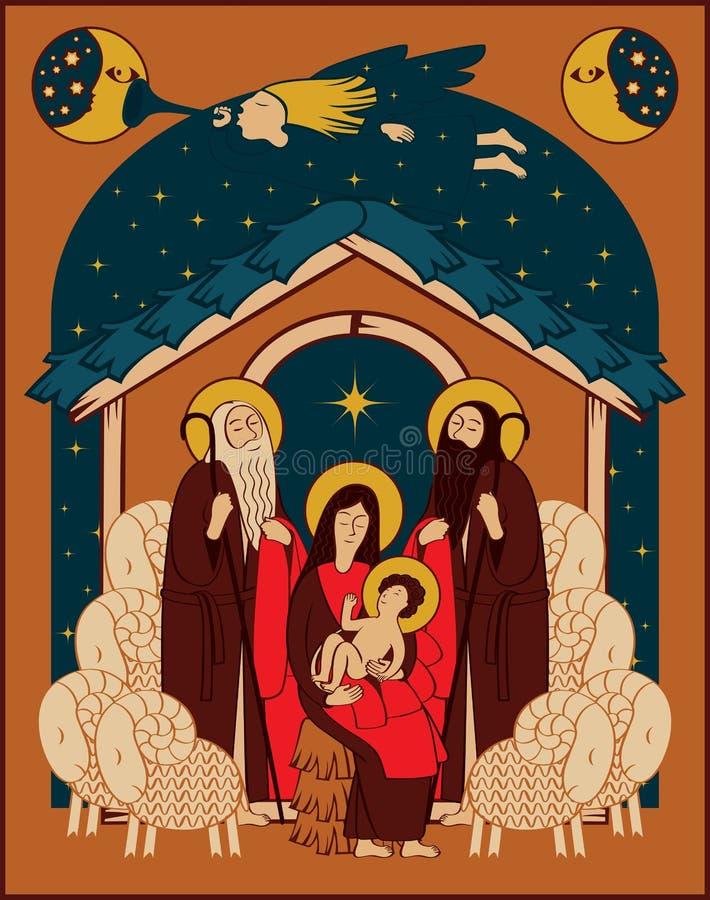 Tillbedjan av magina stock illustrationer