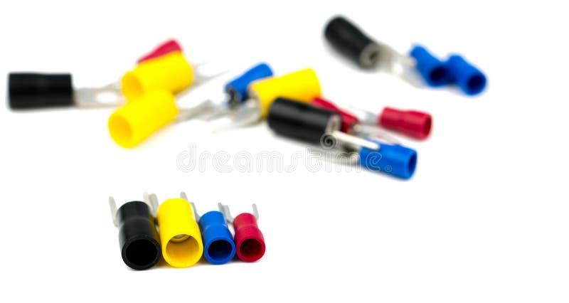 Tillbehör för kontaktdon för elektrisk kabel för spadeterminaler fotografering för bildbyråer