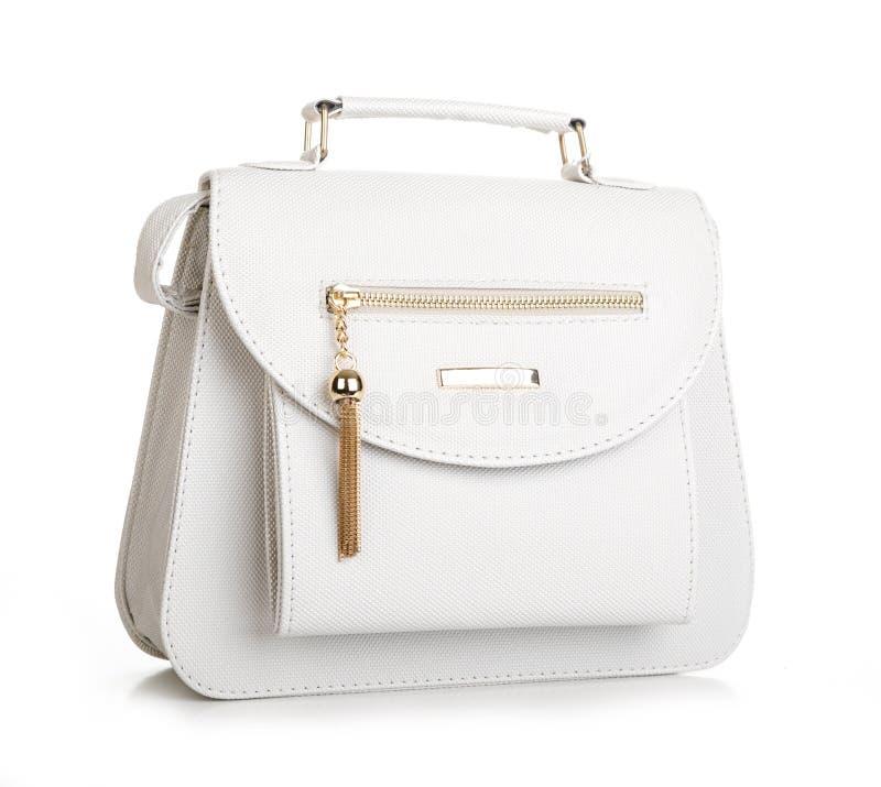 Tillbehör för mode för kvinna` s Handväska för vit kvinna på vit bakgrund royaltyfri bild
