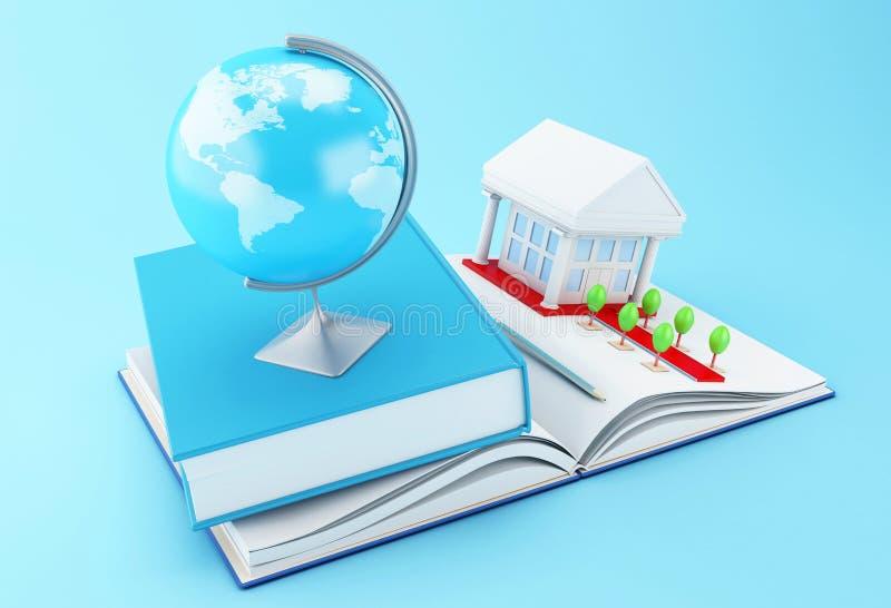 tillbehör för skola 3d på en öppnad bok royaltyfri illustrationer