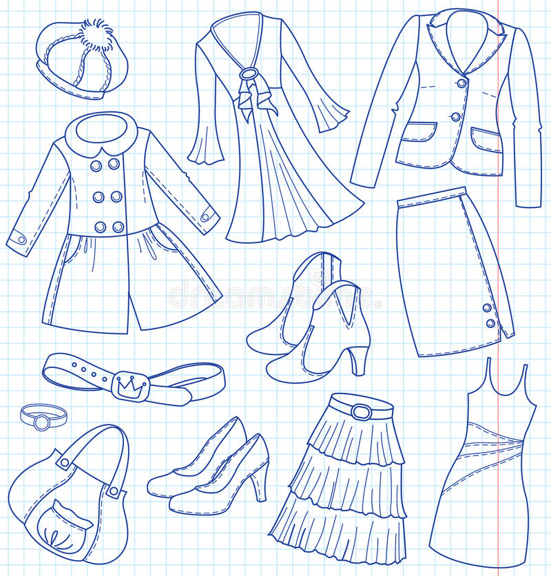 tillbehörwear royaltyfri illustrationer