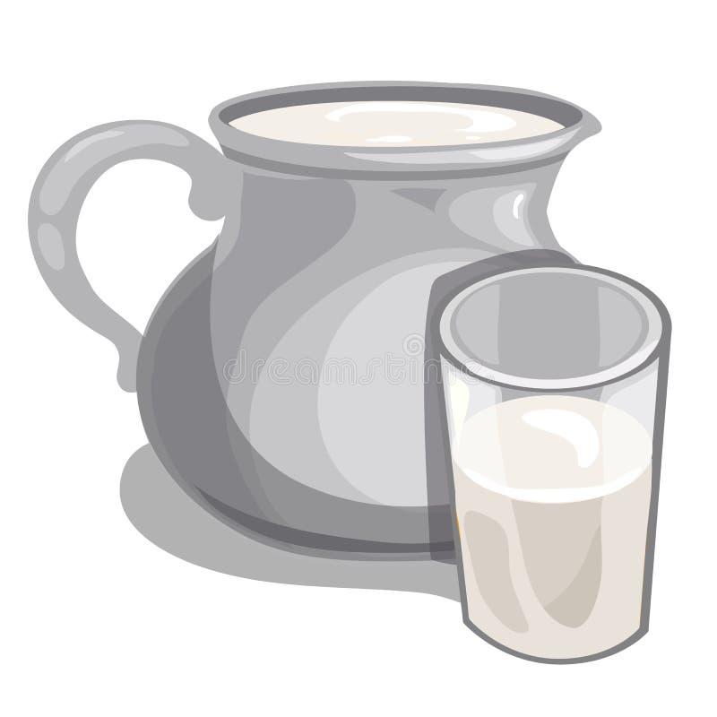 Tillbringaren av mjölkar och fyllde glass den isolerade vektordrinken royaltyfri illustrationer