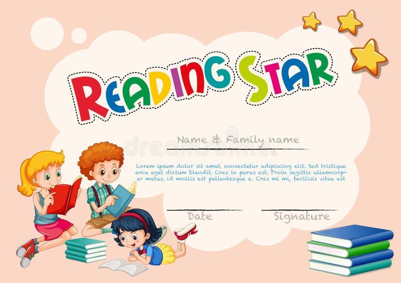 Tilldela intyg mallen för läs- stjärna med rosa bakgrund royaltyfri illustrationer