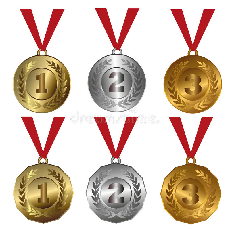Tilldela medaljer guld, silver och bronsskyddsremsor eller medaljer royaltyfri illustrationer