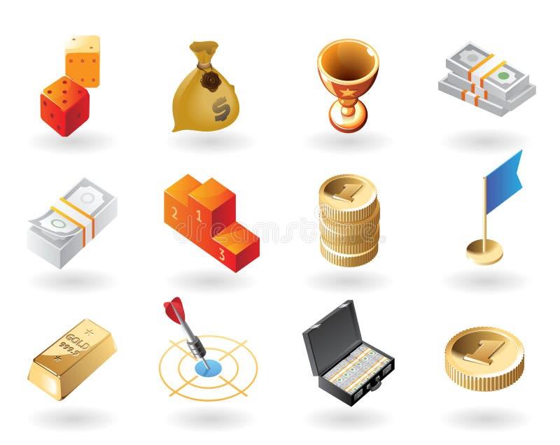 tilldelar symboler isometrisk stil stock illustrationer