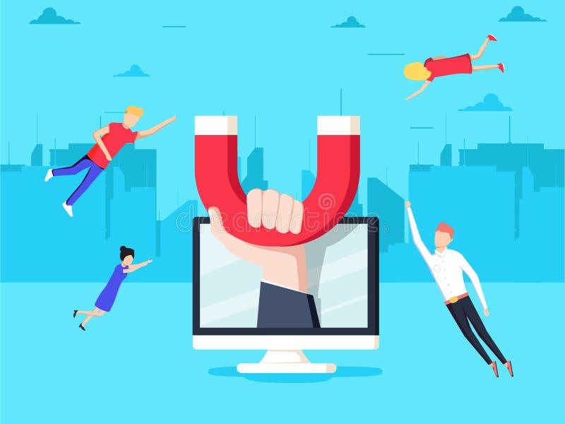 Tilldragning av online-kunder Handen med magneten tilldrar folk och pengar i skärm Kommersiell aktion vektor illustrationer
