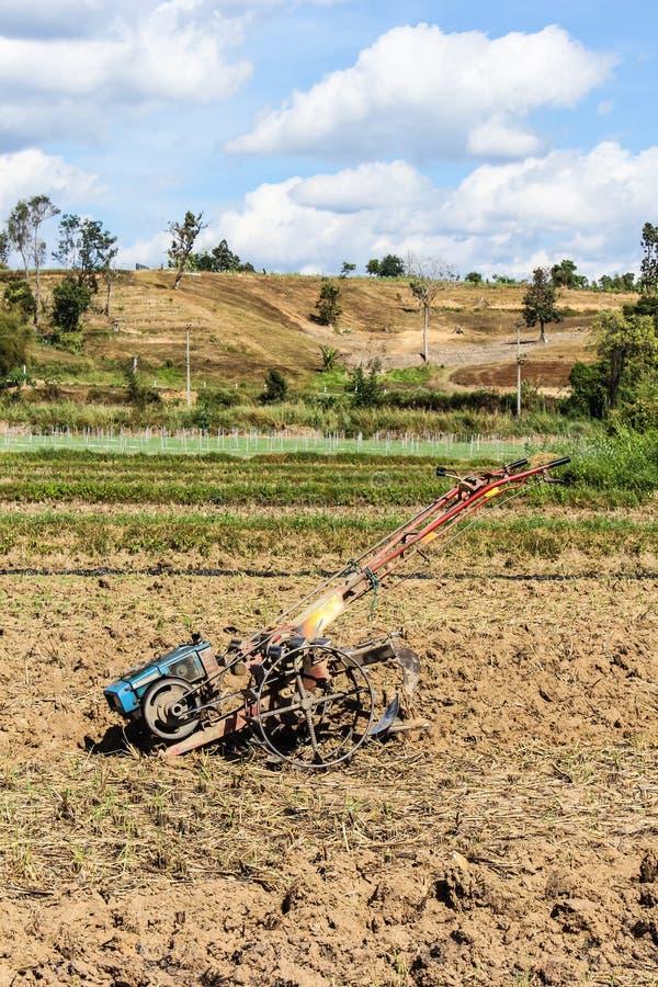 Tiller ciągnik w ryżu polu zdjęcie royalty free