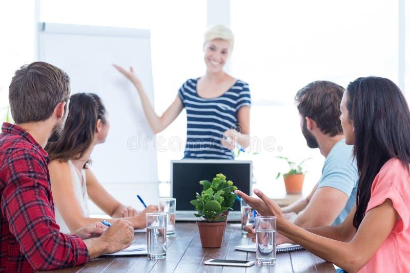 Tillfällig affärskvinna som ger presentation till hennes kollegor royaltyfri bild