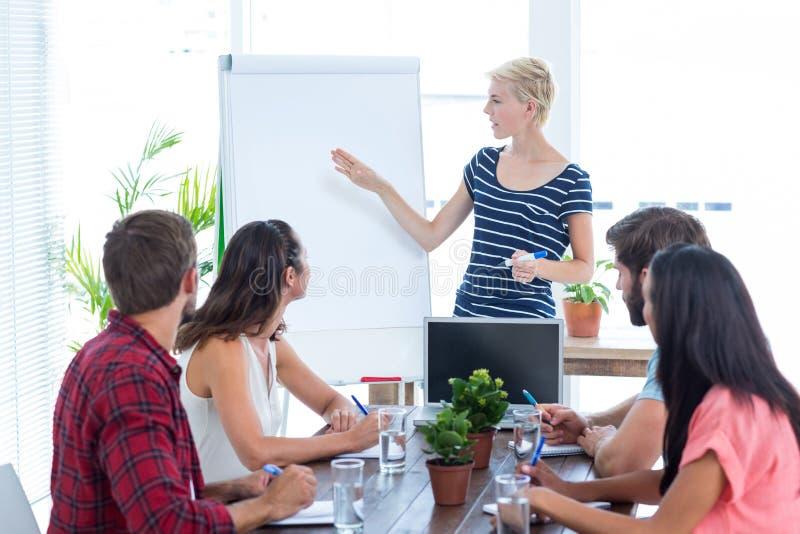 Tillfällig affärskvinna som ger presentation till hennes kollegor royaltyfria bilder