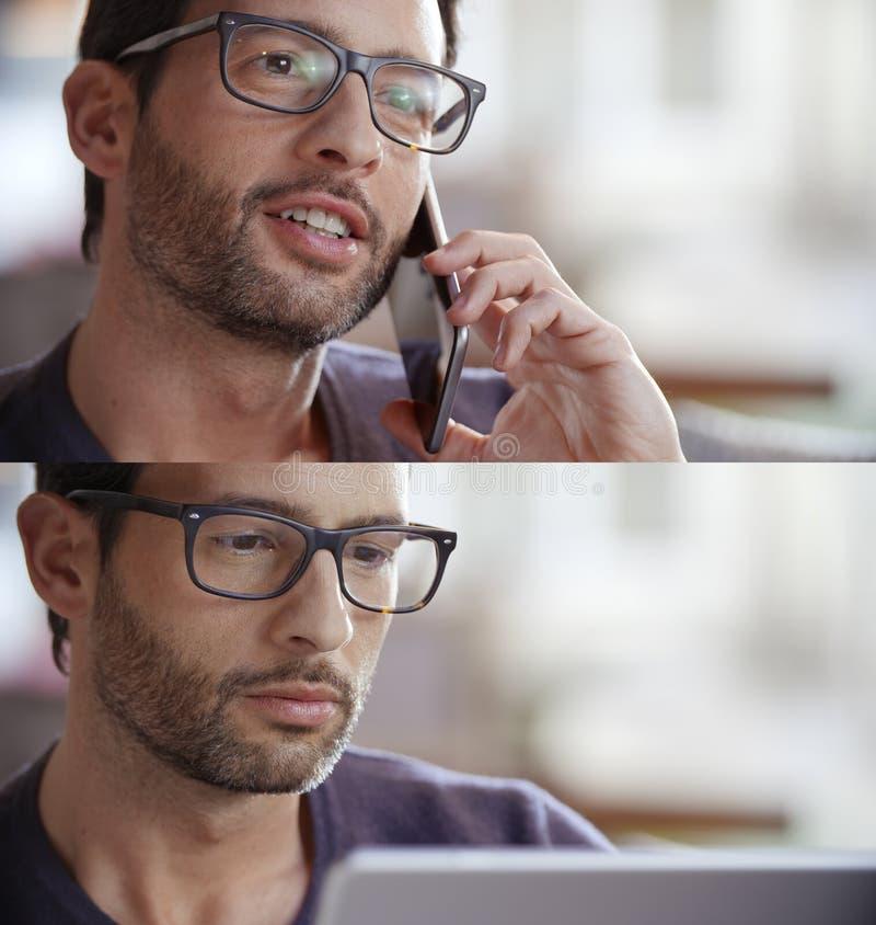 Tillfällig brunettman, affärsmanuppsättning som talar vid smartphonen, genom att använda minnestavlan till bläddrandeinternet Tek arkivbilder
