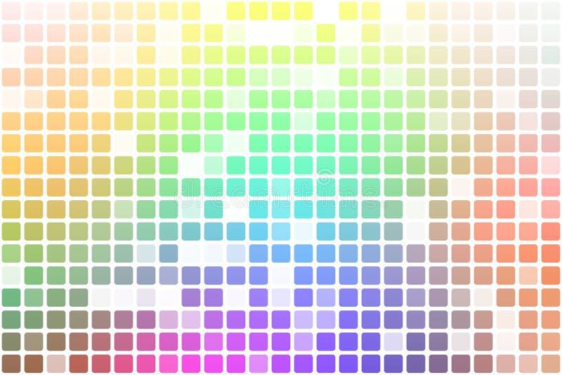 Tillfällig ogenomskinlighetsmosaik för ljus regnbåge över vit stock illustrationer
