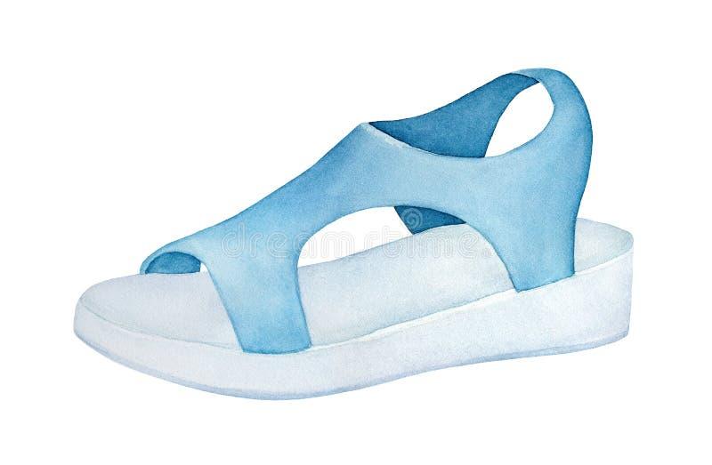 Tillfällig sandal med gummioutsole och övretextil vektor illustrationer