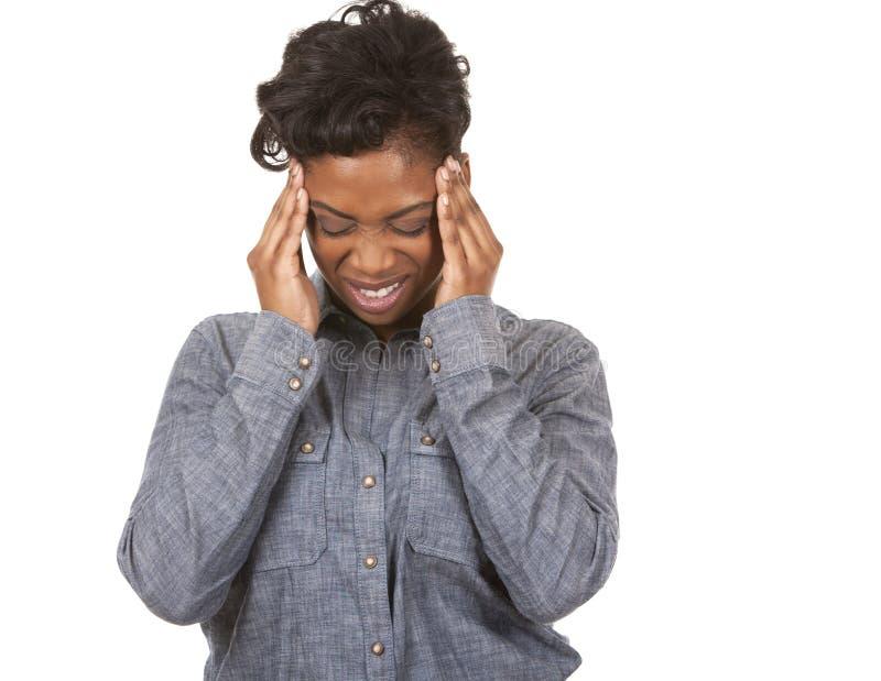 Kvinna och huvudvärk royaltyfria bilder