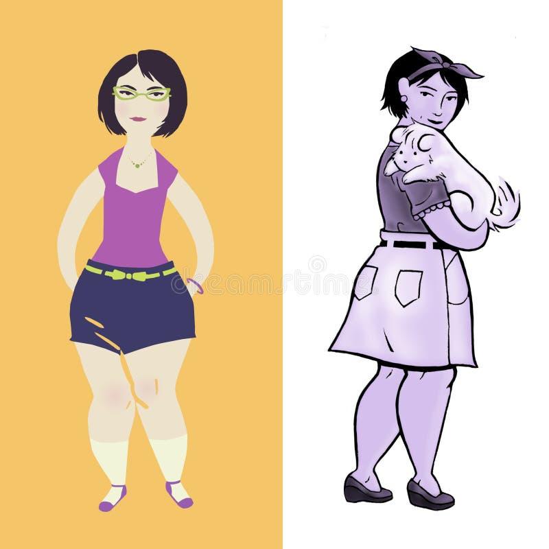 Tillfälliga unga olika stilar för kvinna itu arkivbild