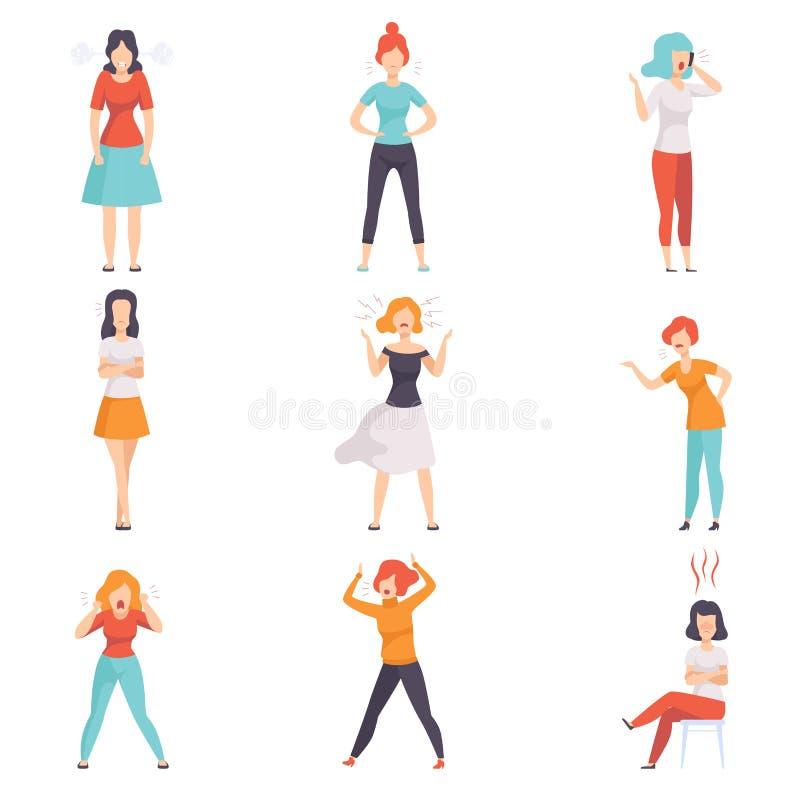 Tillfälligt klädda rasande unga kvinnor ställde in, emotionellt folk i ursinnevektorillustrationer på en vit bakgrund stock illustrationer