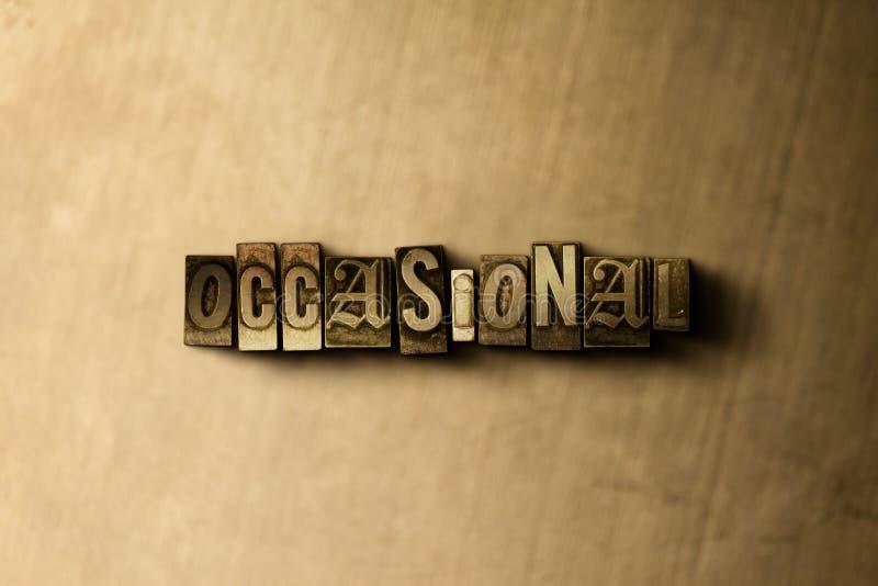 TILLFÄLLIGT - närbild av det typsatta ordet för grungy tappning på metallbakgrunden royaltyfri illustrationer