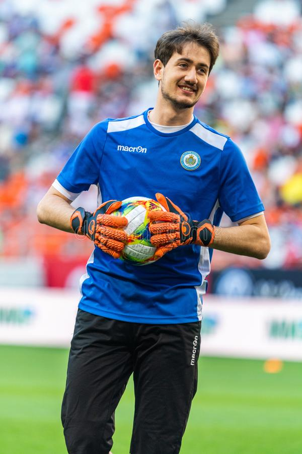 Tillförordnad målvakt Matteo Zavoli för sanmarinskt nationellt fotbollslag arkivbild