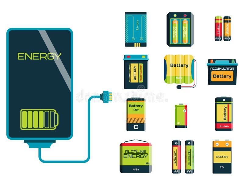 Tillförsel för bränsle för laddning för elektricitet för batterienergihjälpmedel positiv och del- alkalisk bransch för isposable  vektor illustrationer