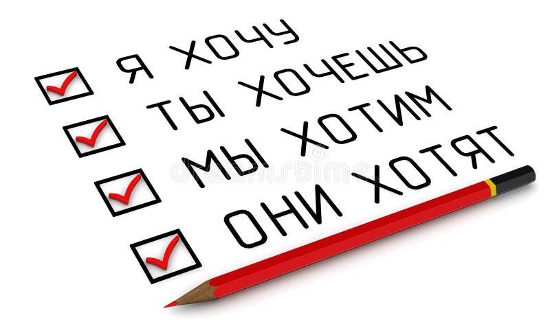 Tillf?lligheten av lust Översättningstext: 'ÖNSKAR JAG; DU ÖNSKAR; VI ÖNSKAR; DE ÖNSKAR ', vektor illustrationer
