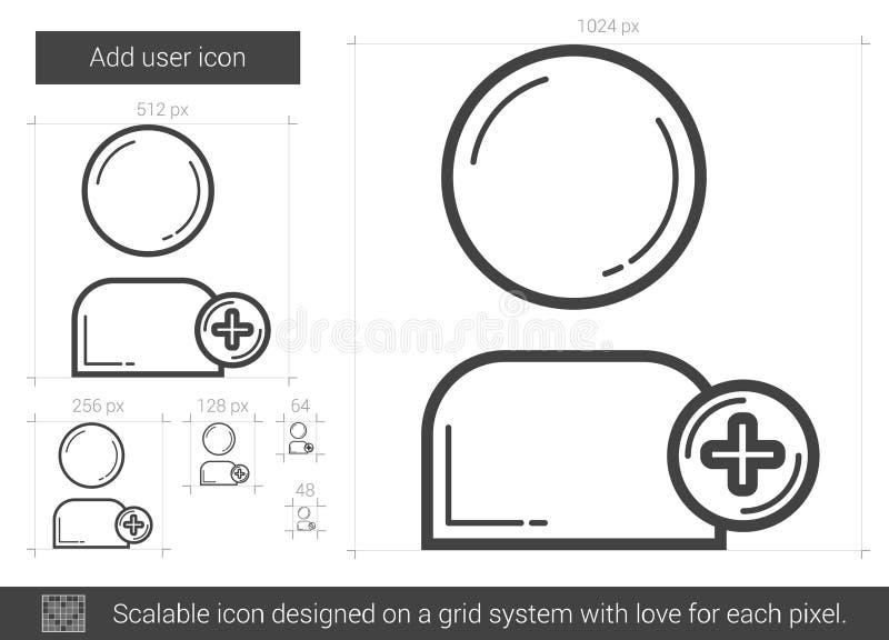 Tillfoga användarelinjen symbol vektor illustrationer