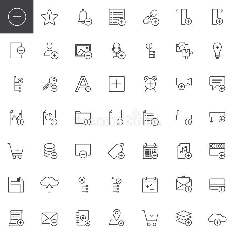Tillfoga applikationer med plus teckenlinjen symbolsuppsättning vektor illustrationer