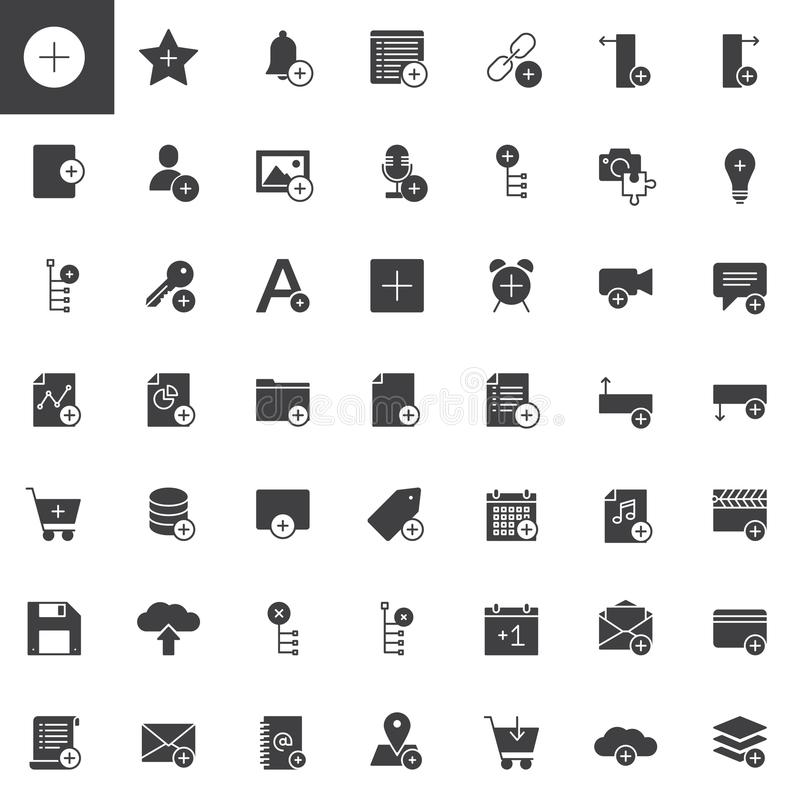 Tillfoga applikationer med plus uppsättningen för teckenvektorsymboler stock illustrationer
