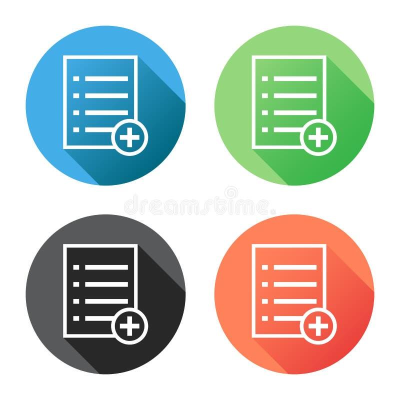 Tillfoga illustrationen för lägenheten för vektorn för listadokumentsymbolen Isolerad docume royaltyfri illustrationer