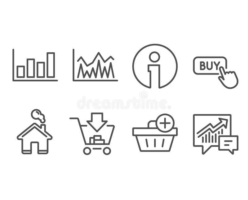 Tillfoga köp- och rapportdiagramsymboler, shoppa Köp knappen, investering- och redovisningstecken stock illustrationer